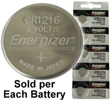 Energizer ECR1216 (CR1216) Coin Lithium Cell, On Tear Strip