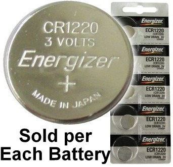 Energizer ECR1220 (CR1220) Lithium Coin Cell, On Tear Strip