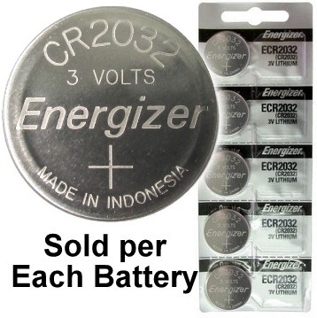 Energizer ECR2032 (CR2032) 3 Volt Lithium Coin Battery, On Tear Strip