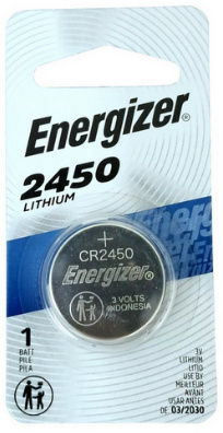 Energizer ECR2450BP (CR2450) 3 Volt, 60 mAh, Lithium Coin Battery - Carded, Dated 3 - 2026