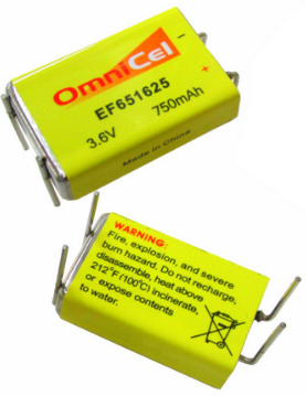 Omnicel EF651625, 3.6 Volt 750mAh Prismatic High Energy Lithium Battery