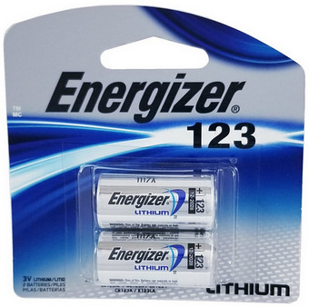 Energizer EL123 3Volt Lithium Battery, 2 in Blister Pack, Exp. 12-2028