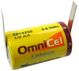OmniCell 3.6 Volt, 1.2Ah 1/2 AA High Energy Lithium Battery - with Tabs