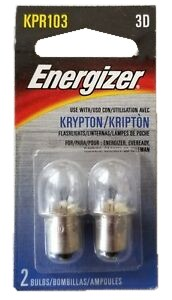 Energizer KPR103 Krypton Flashlight Replacement Bulb 2 Pack.  For use with 3 D size batteries.