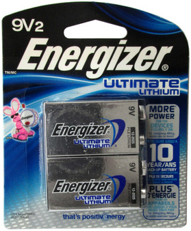 Energizer L522 9 Volt Ultimate Lithium, 2 Pack Carded