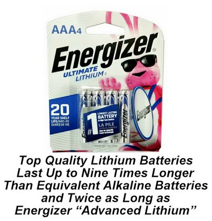 Energizer L92 Photo AAA Ultimate Lithium Battery 4 Pack AAA