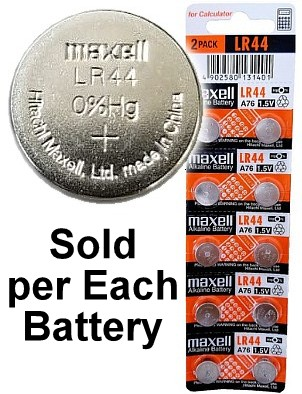 Maxell Batteries LR44 (A76, AG13) Alkaline Button Size Battery, On Tear Strip