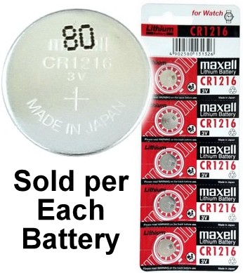 Maxell Batteries CR1216 (ECR1216, DL1216) Lithium Coin Battery, On Tear Strip