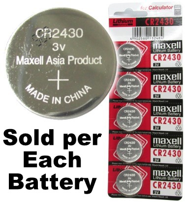 Maxell CR2430 3 Volt Lithium Coin Cell, On Tear Strip