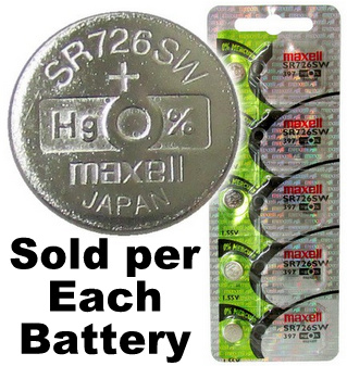 Maxell Hologram SR726SW (397) 1.55V Silver Oxide Watch Battery on Hologram Tear Card, Exp. 2020