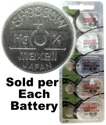 Maxell Hologram SR936SW (394) Silver Oxide Watch Battery On Hologram Tear Card. Exp. 2-2020