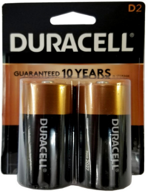 Duracell MN1300B2 D Size Battery 2-Pack USA Retail Packs, Exp. 3 - 2027