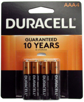 Duracell MN2400B4 AAA Size Battery 4 pk USA Retail Packs AAA, Exp. 3 - 2027
