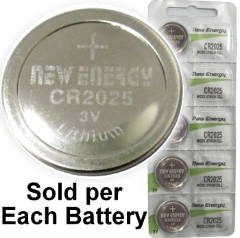 New Energy CR2025 3V Lithium Coin Cell, on Card
