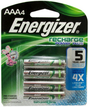 Energizer NH12 1.2V, 800 mAh, NiMH AAA Pre-Charged Rechargeable Battery, 4 Pack AAA