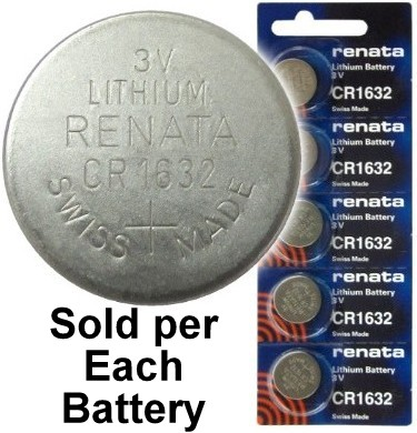 Renata CR1632 (BR1632) 3 Volt Coin Lithium Battery - on Tear Strip. Exp. 3-2024