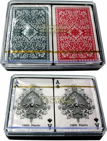 Royal 100% All Plastic Double Deck Playing Cards in Plastic Box.  3 Assorted Designs, Red and Blue.