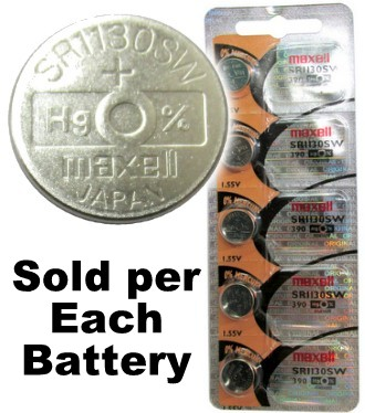 Maxell Hologram SR1130SW (390) 1.55 Volt Silver Oxide Watch Battery, On Tear Strip. Exp. 2-2020
