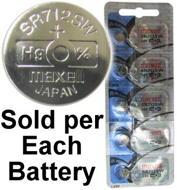 Maxell Hologram SR712SW (346) 1.55 Volt Silver Oxide Watch Battery, On Tear Strip, Exp. 2 2020