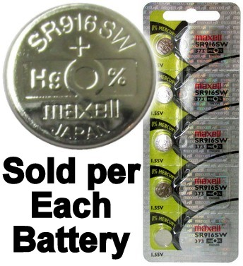 Maxell Hologram SR916SW (373) 1.55 Volt Silver Oxide Watch Battery, On Tear Strip, Exp. 2022