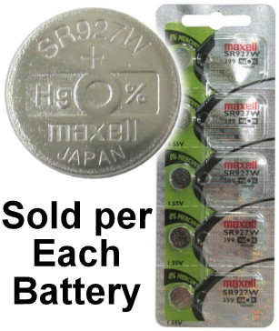 Maxell Hologram SR927W (399) 1.55 Volt Silver Oxide Watch Battery, On Tear Strip, Exp. 2022