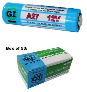 GI A27 Alkaline Batteries, Boxed