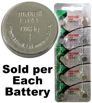 Maxell Hologram LR41 (192, AG3) Alkaline Button Size Battery, Card of 10, Exp. 2022