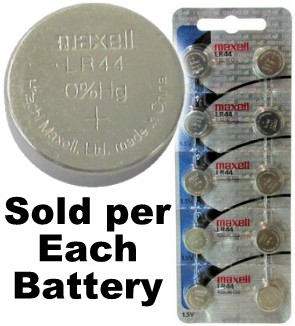 Maxell Hologram LR44 (A76, AG13) Alkaline Button Size Battery, Card of 10 Date: 2-2020