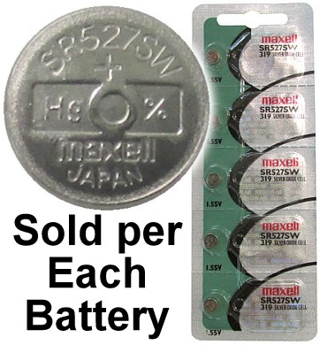 Maxell Hologram SR527SW (319) Silver Oxide Watch Battery. On Hologram Tear Card. Exp. 2-2020
