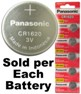 Panasonic CR1620 3V Lithium Coin Size Battery, On Tear Strip